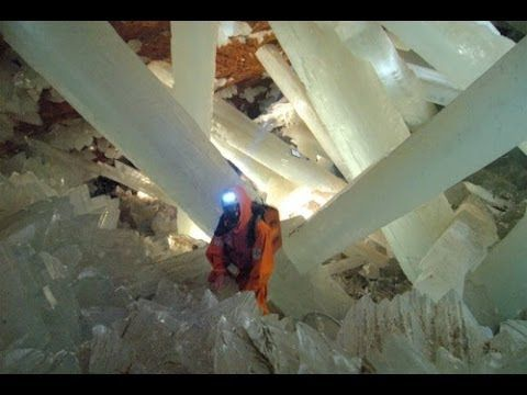 Naica Crystal Cave, Mexico - World's Largest Crystals.122°F and 90-99% humindity. With an insulated suit, you can only stay for 30 minutes maximum.