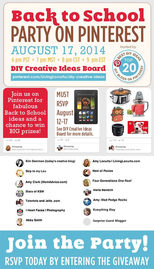 Back to School Party on Pinterest! Get great DIY ideas and a chance to win fun prizes.: Diy Ideas,  Internet Site, Pinterest Parties, Back To Schools, Schools Parties,  Website, Creative Ideas, Schools Pinterest, Backtoschool Pinterest