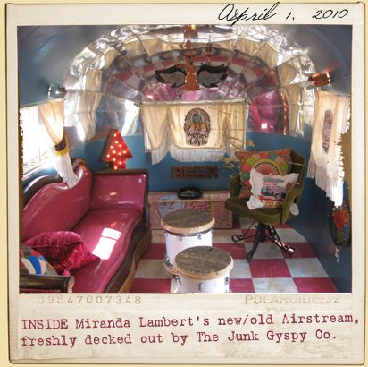 A big THANK YOU to The Junk Gypsy Co. for transforming my '53 Flying Cloud Airstream for my Roadside Bars & Pink Guitars tour!!