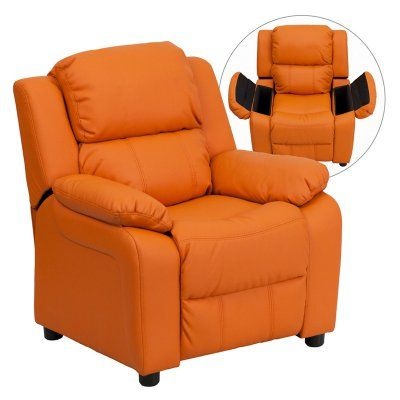 Flash Furniture Deluxe Heavily Padded Vinyl Kids Recliner with Storage Arms - Orange - BT-7985-KID-ORANGE-GG