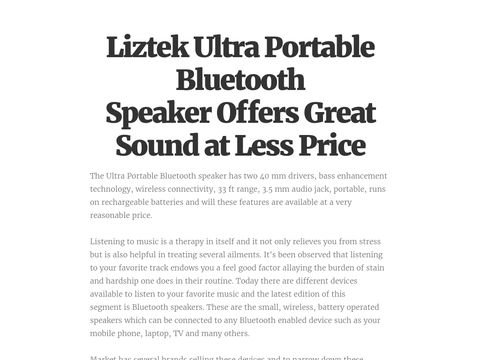Liztek Ultra Portable Bluetooth Speaker Offers Great Sound at Less Price