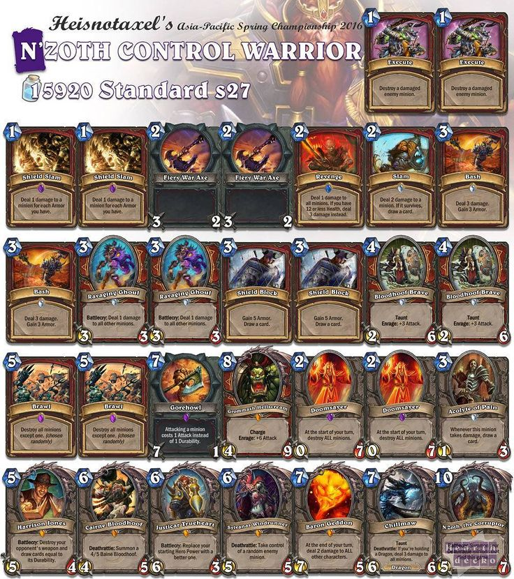 Control Warrior has always been a favorite of mine. Now with N'Zoth! Find more tournament decks through our linkin.bio! #Hearthstone