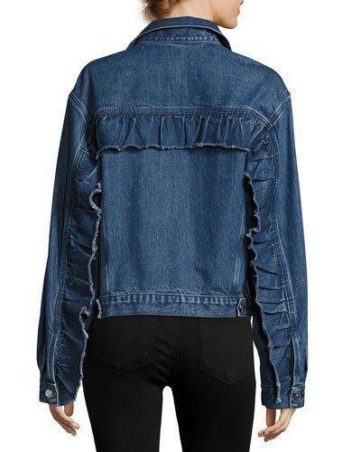 TW0P0 Iro Donna Button-Front Denim Jacket w/ Ruffled Trim