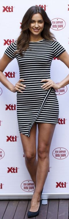 Who made Irina Shayk's black stripe dress that she in Madrid on May 9, 2014?