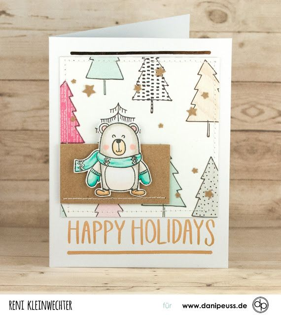 Kartenwind: Happy Holidays Christmas Card Weihnachtskarte mit danipeuss Klartext Stempel Kleiner Eisbär, Crate Paper Snow and Cocoa, Copics Coloring