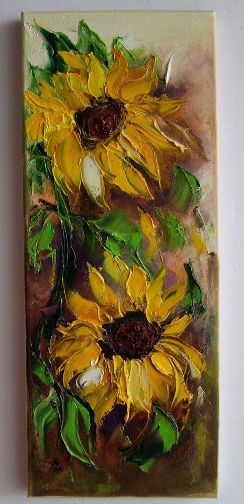 Sunflowers Impression Palette knife Original Oil Painting IMPASTO Europe Artist #Impressionism