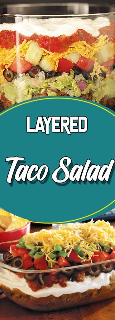 Layered taco salad #healthyrecipes #recipes #sundaysupper #comfortfood #paleo #glutenfree