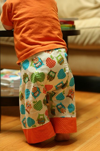 Owl Baby Pants. I love these pants, you can get the pattern from madebyrae.com: http://www.made-by-rae.com/2010/08/big-butt-baby-pants-sewing-pattern/