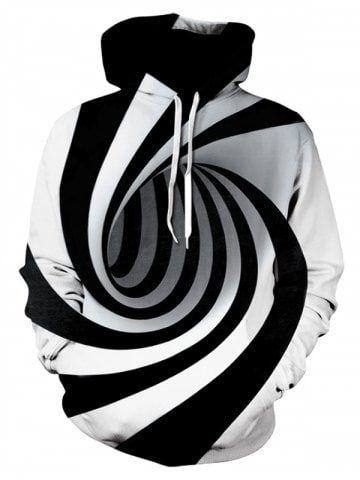 67ef3968 Men's Hoodie 3D Digital Vortex Personality Print Hooded - BLACK - 4XL
