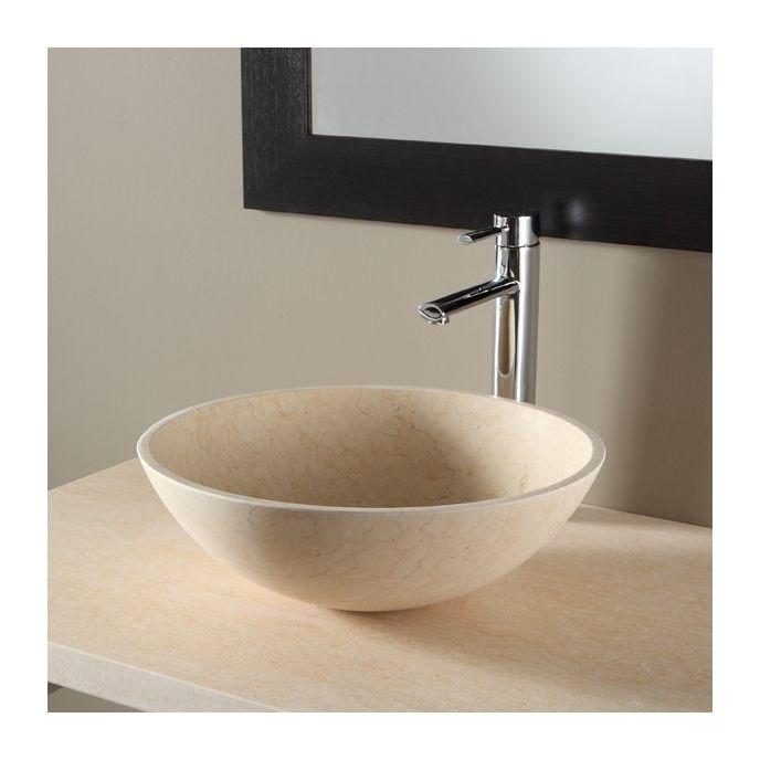 Vasque à poser bol en pierre effet marbré Beige PLANETE BAIN