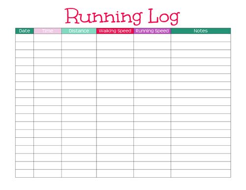 Running Log Template. Planner Fun - Free Inserts, Links, Hacks
