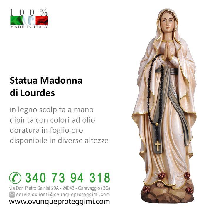 Statua Madonna di Lourdes in legno  in legno scolpito a mano dipinto con colori ad olio doratura in foglio oro disponibile in diverse altezze  La statua della Madonna di Lourdes in legno è disponibile al seguente link http://www.ovunqueproteggimi.com/collezione-statue/statue-in-legno/madonna/
