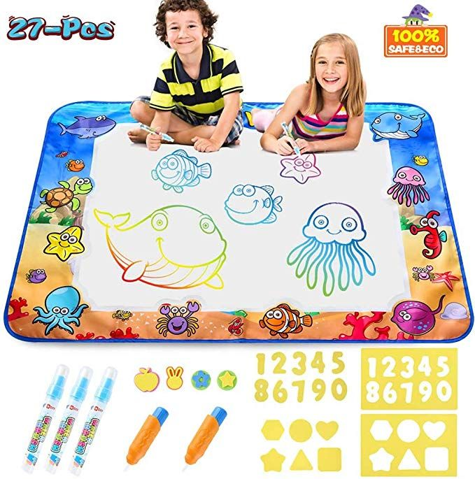 Amazon Com Aqua Magic Doodle Mat Kids Painting Writing Doodle Board Toys Mess Free Water Drawing Doodle Mat Large Si 6 Year Old Toys Toddler Age Water Drawing