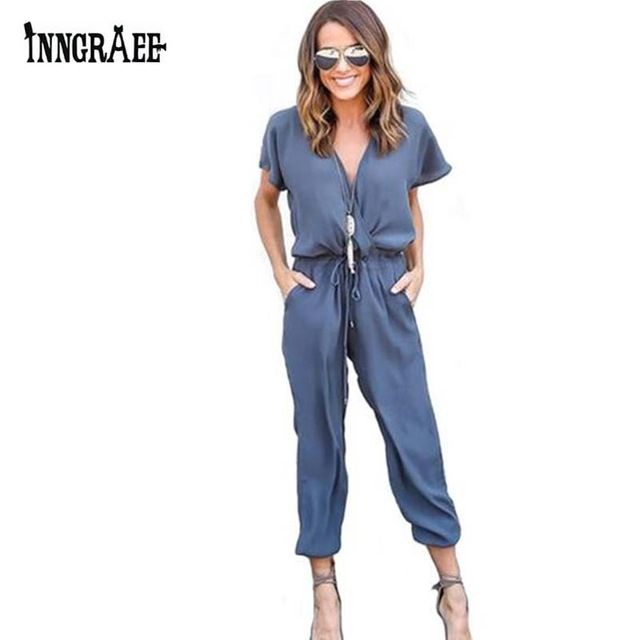 Special offer Inngraee 2017 Office Rompers Women Jumpsuit Summer V-Neck Tied Waist Sexy Party Playsuit  Female Overalls Pockets NS8446 just only $10.94 with free shipping worldwide  #womanjumpsuits Plese click on picture to see our special price for you
