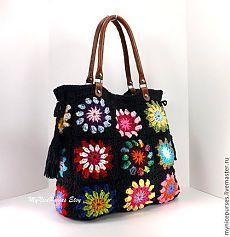Купить Вязаная летняя сумка из квадратных мотивов - бабушкины квадраты, цветочный мотив, сумка