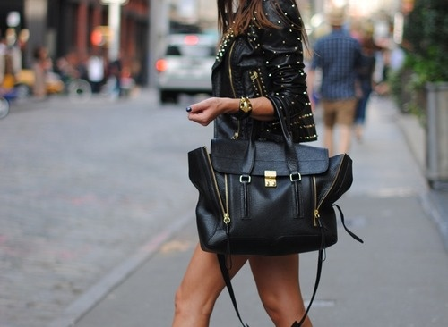 There is 1 tip to buy this bag: black leather with zips fashion black jacket .