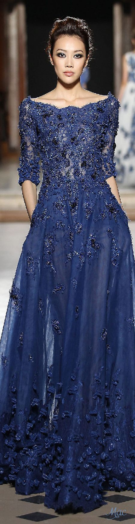 Fall 2015 couture tony ward j l dy navy blue wedding for Navy dresses for weddings