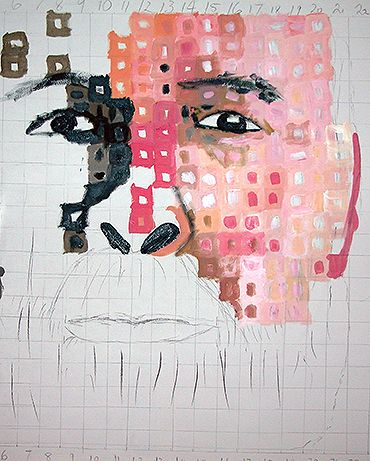 Step one; meet John at his home and do quick sketches; draw gridlines on paper to get proportions correct; block in tonal areas;  block in colours. © 2005 Kendrea Rhodes #kendreart