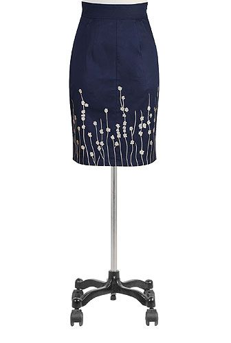 I <3 this Floral embroidered sateen skirt from eShakti