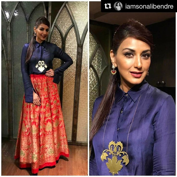 #Repost @iamsonalibendre ❤ as elegant as always in our handwoven brocade skirt and silk shirt! ・・・ #OOTN for @milokmat Maharashtra's Most Stylish Awards. Outfit - @payalkhandwala Hair - @kantamotwani @kromakaysalon Styled by @shreysways