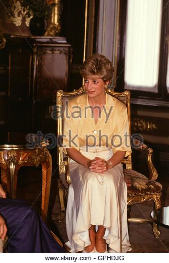 Princess Diana of Wales, on a visit to Egypt in 1992, meets Egyptian President Hosni Mubarak. - Stock Image