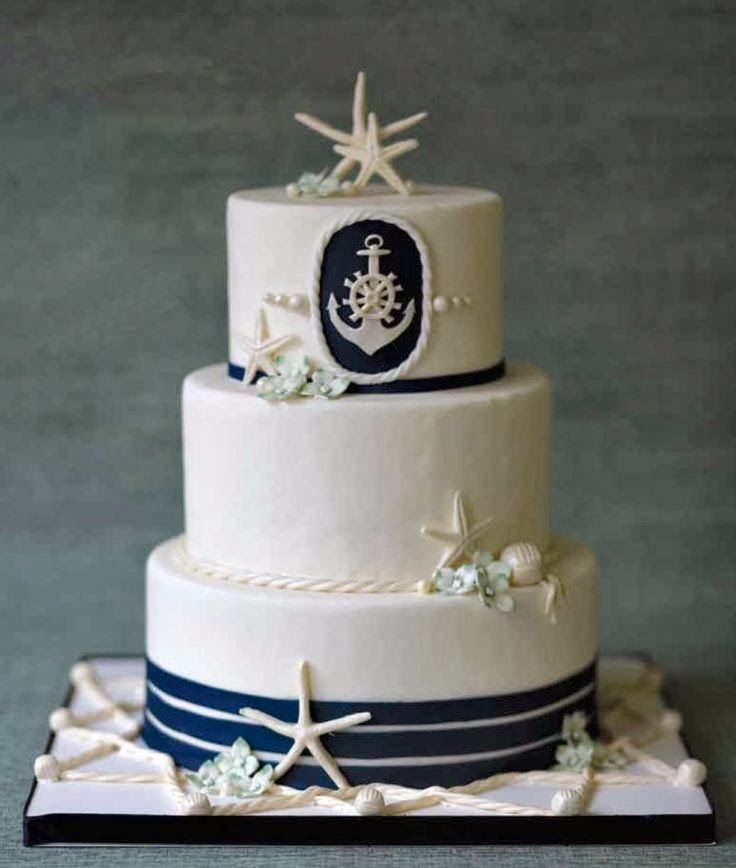 Nautical Wedding Cakes | http://simpleweddingstuff.blogspot.com/2014/02/nautical-wedding-cakes.html