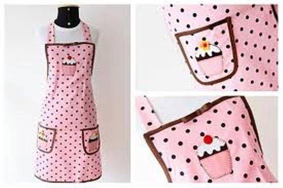 Avental em cup cake rosa...   lindo!!!!!!!!!! Fazemos outras cores. R$ 35,00