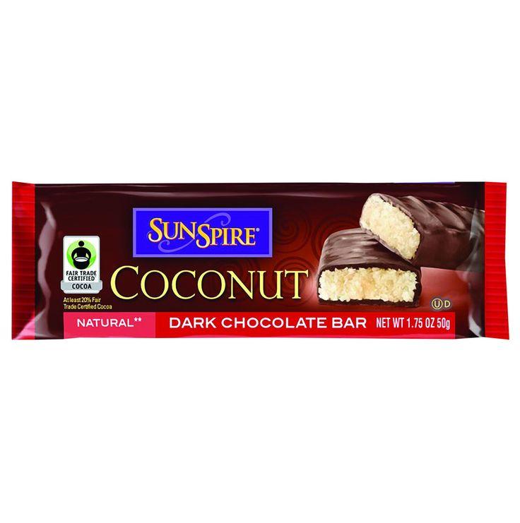 SunSpire Foods Coconut Bar - Premium Dark Chocolate - 1.75 oz Bars - Case of 24