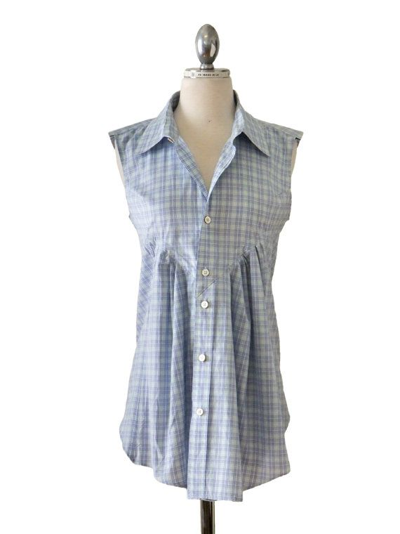 Women's+Blue+Plaid+Blouse+Refashioned+from+Men's+by+ReMadeInLA,+$68.00