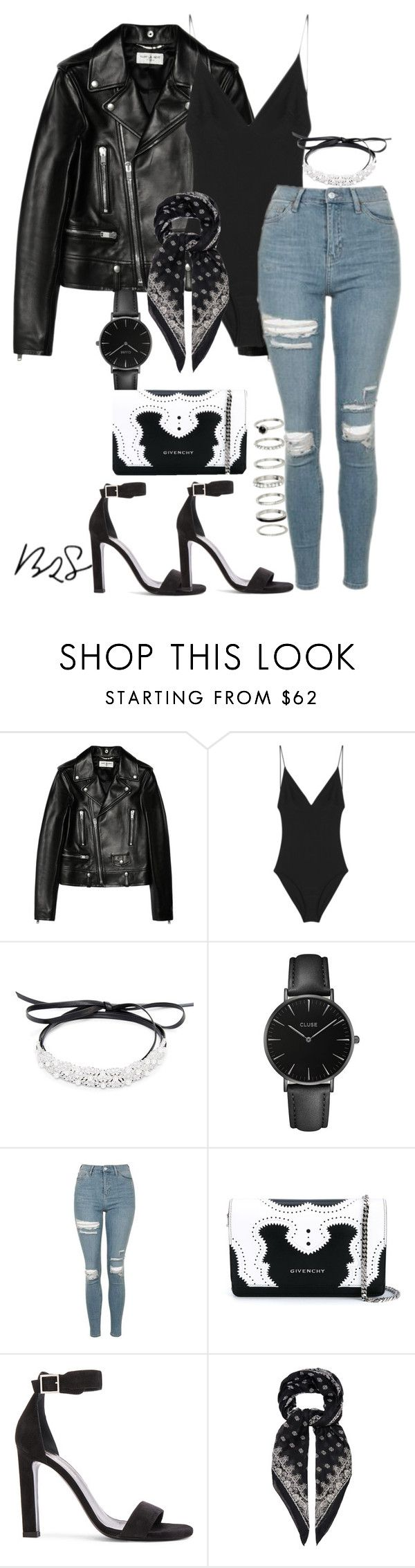"""#727"" by blendingtwostyles ❤ liked on Polyvore featuring Yves Saint Laurent, Dion Lee, Fallon, CLUSE, Topshop and Givenchy"