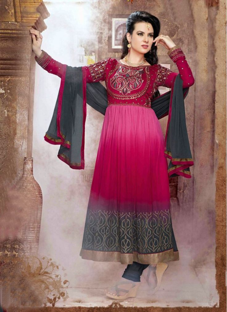 Hot Pink and Grey Embroidered Faux Georgette Decent Indian Salwar Kameez