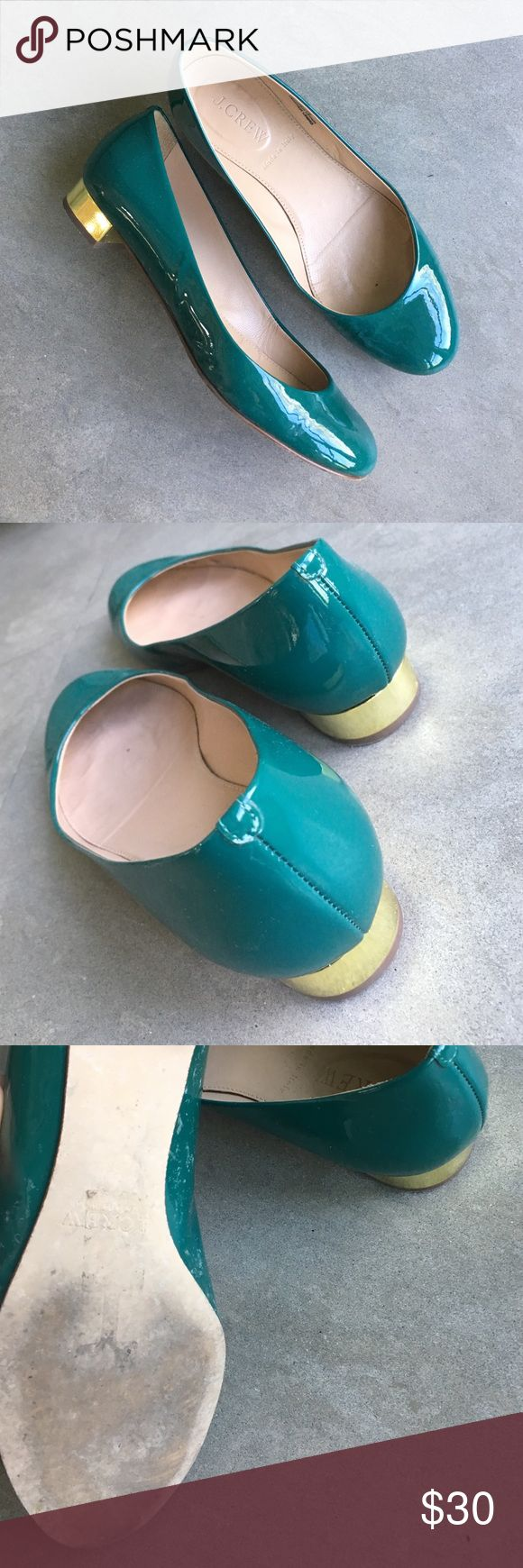 J Crew teal flats with gold heel. Sz 5.5 J crew teal leather flats with cute chunky gold heel. Size 5.5. Worn only a few times. J. Crew Shoes Flats & Loafers