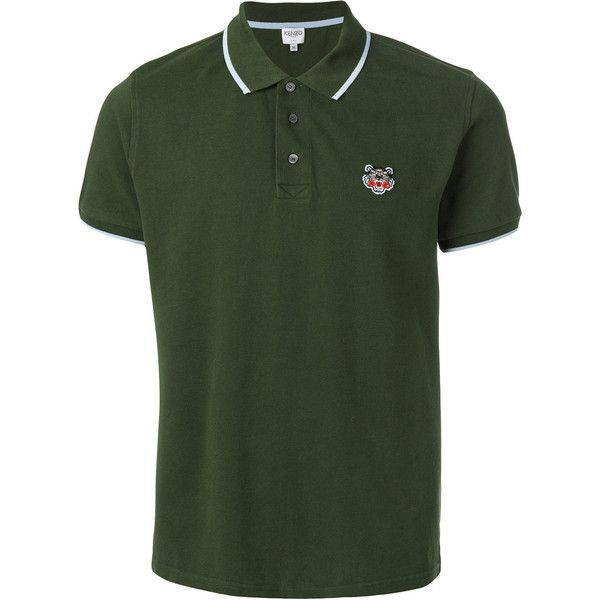 Kenzo Tiger Logo Cotton Polo Shirt ($150) ❤ liked on Polyvore featuring men's fashion, men's clothing, men's shirts, men's polos, mens green polo shirts, mens green shirt, mens short sleeve polo shirts, mens short sleeve cotton shirts and men's cotton polo shirts