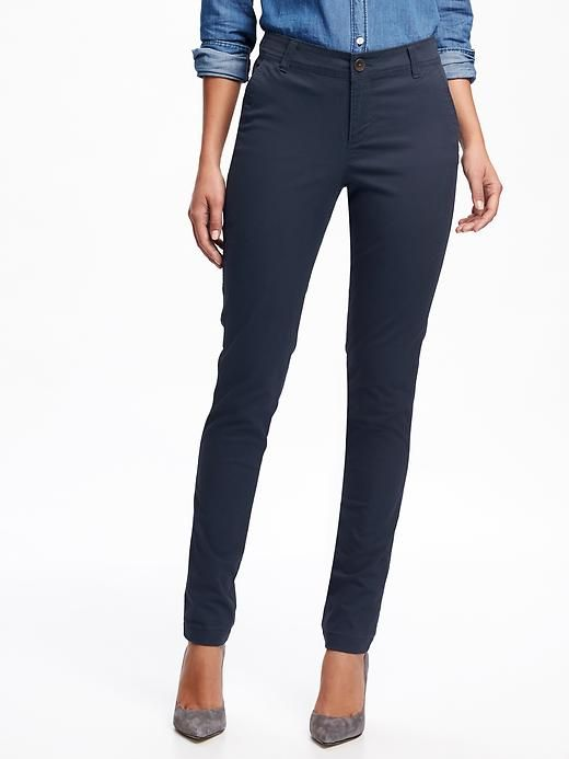 Old Navy Mid-Rise Skinny Khaki Pant for Women in Navy