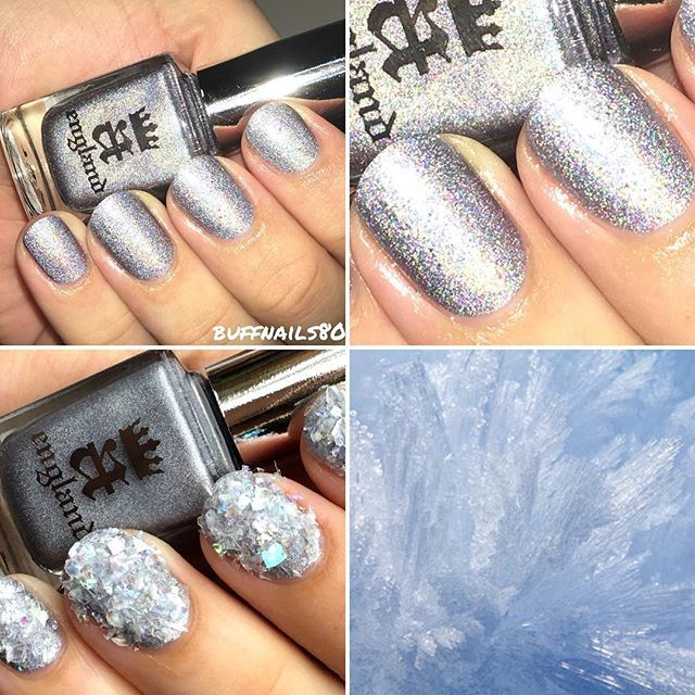 Ladies and gents I have the December Holo Wonderland  @meeboxuk to share with you this evening.this is the very very holographic and stunning @aengland_official Lily Lily Rose.its such a complex silver Holo and I can't stop staring at it. To add some nailart I added some fabulous  @naionailsuk snowflake cracked ice Mylar flakes, I sugared them onto wet top coat, left to dry them dusted off the excess with a clean up brush. ❄️ #prsample #meebox029 #meeboxholowonderland #nailblogger…