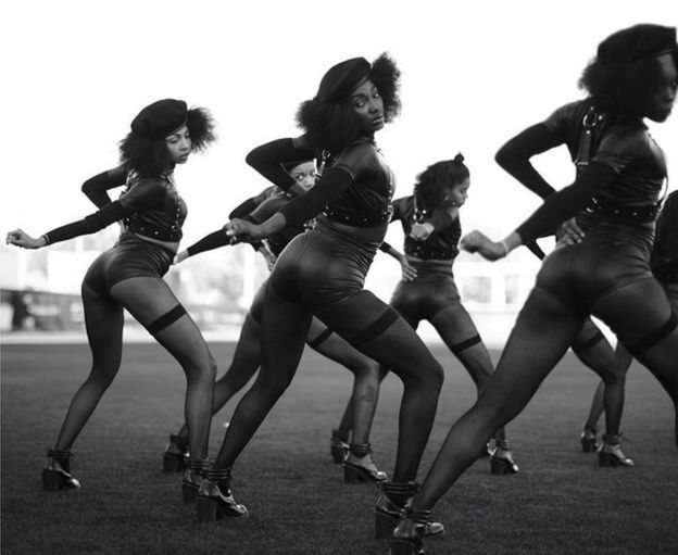 Image of backing dancers at Superbowl 50 posted by Beyonce - 8 February 2016