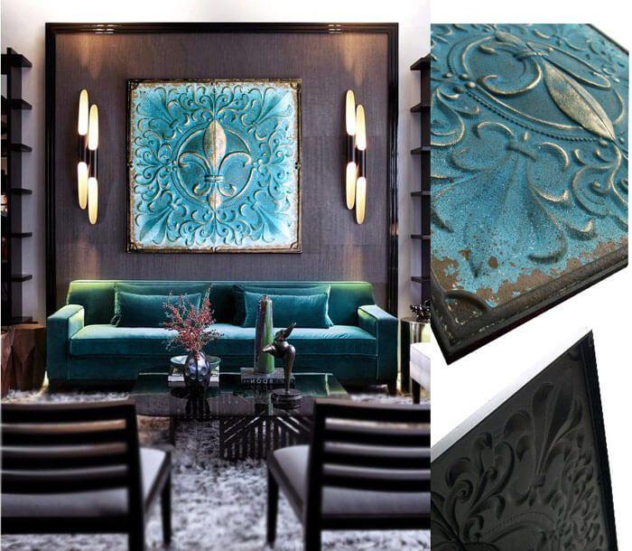 cuadro flor de lis, elegante y original cuadro deorativo en relieve color verde agua azulado, un cuadro para sofa, dormitorios entradas.