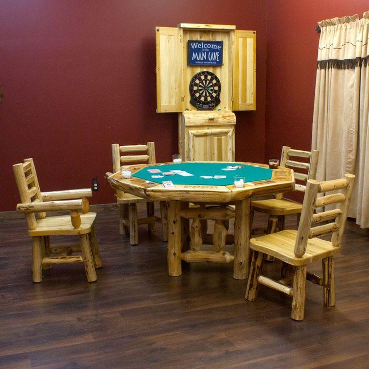 Cedar Log Poker Table With Matching Chairs U0026 Dartboard Cabinet | Rustic  Cabin Decor