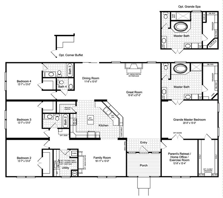 Fantastic Hacienda III Standard Floor Plan With Opt. Grande Spa Bath    Manufactured Or Modular Home   4 Bedrooms, Baths, Sq. From Palm Harbor  Homes   See ...