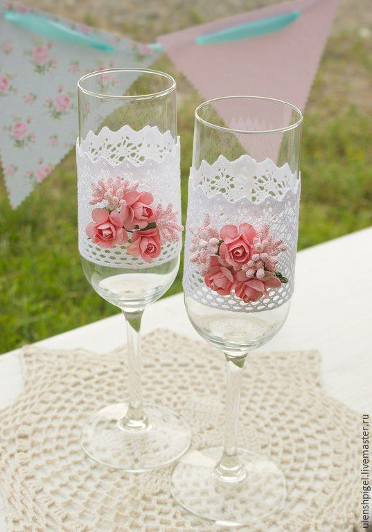 Купить Свадебные бокалы Шебби шик - белый, розовый, кружево хлопковое, шебби шик, розы