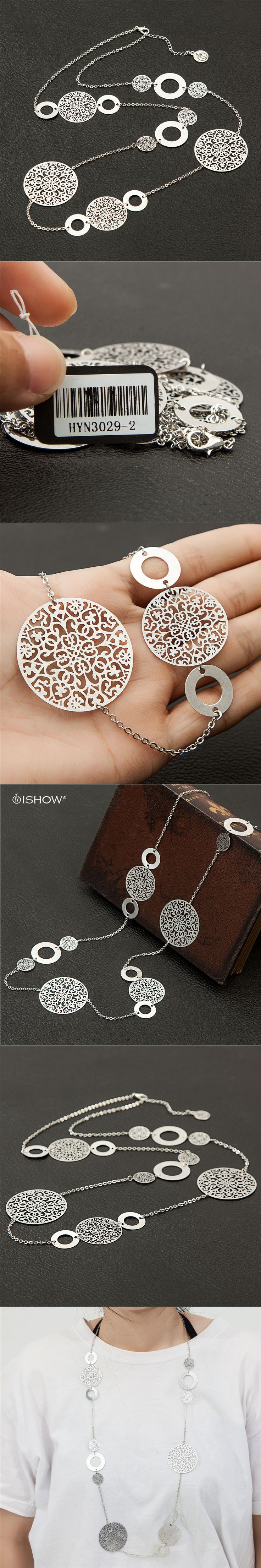 90 cm Copper Filigree Silver Necklace Carved Pattern Long Necklace Boho Collares mujer Colar feminino Copper Collares largos