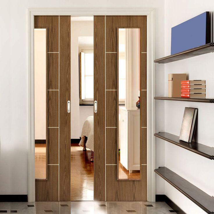 Double Pocket Eco Mocha Walnut sliding door system in three size widths with clear glass. #internaldoorglazedmodern #contemporaryglazeddoors #roomdividers