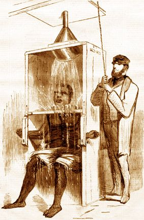 The original ice water torture.It is possible that whoever came up with the idea of the modern ice bucket challenge knew nothing about the original torture device. Is there any correlation or significance between the two...?