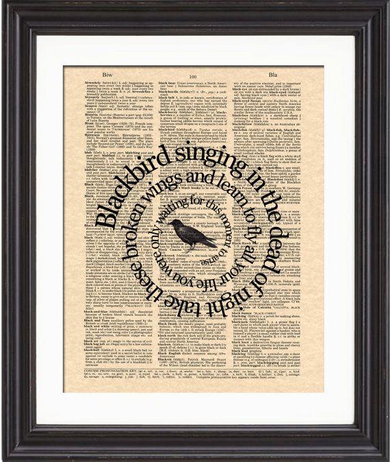The Beatles Blackbird Art Print Blackbird Song by TexasGirlDesigns