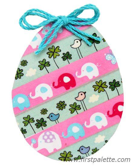 Washi tape Easter egg with diagonal pattern design
