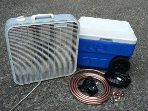 Home made air conditioner  Okay technically it's not an air conditioner it's an evaporative cooler aka a swamp cooler
