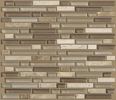 """Imagine this installed as your backsplash in your new kitchen..  Love it!  Tile by Shaw Floors in style """"Mixed Up 5/8 Linear Random Mosaic Stone"""" color Canyon..   Great blend of neutral gray and taupe colors"""