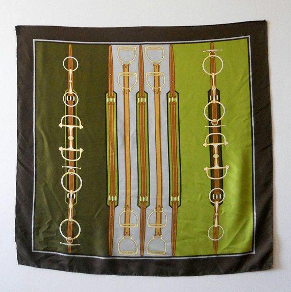Women accessories Vintage Silk scarf Equestrian design silk
