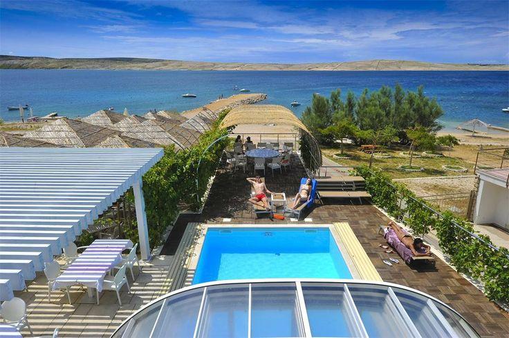 beach front Vacation rental in Novalja, island Pag, Croatia - Adriatic sea - Zrce beach- Apartment - condo rental with swimmingpool