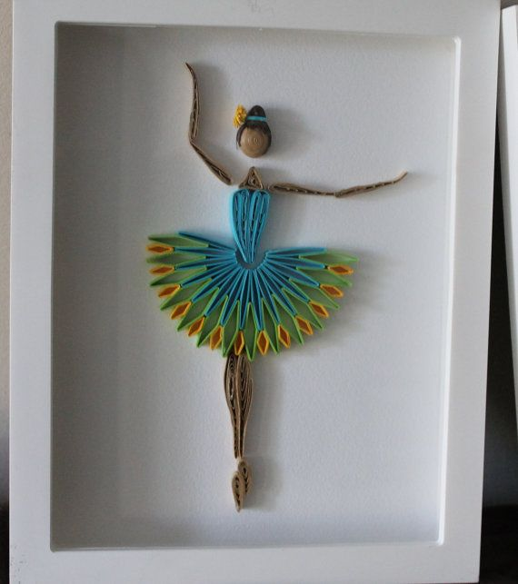 Quilled Ballerina framed wall art by Especially4UHandmade on Etsy